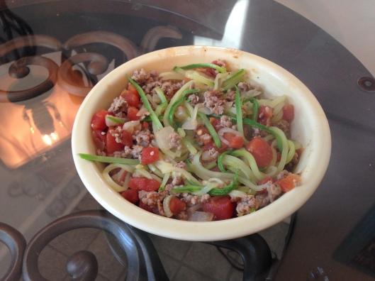 Zoodles + Turkey Tomato Sauce {Paleo}