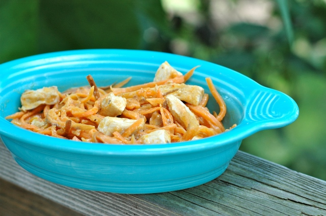 Buffalo Chicken Alfredo with Sweet Potato Noodles {Paleo}